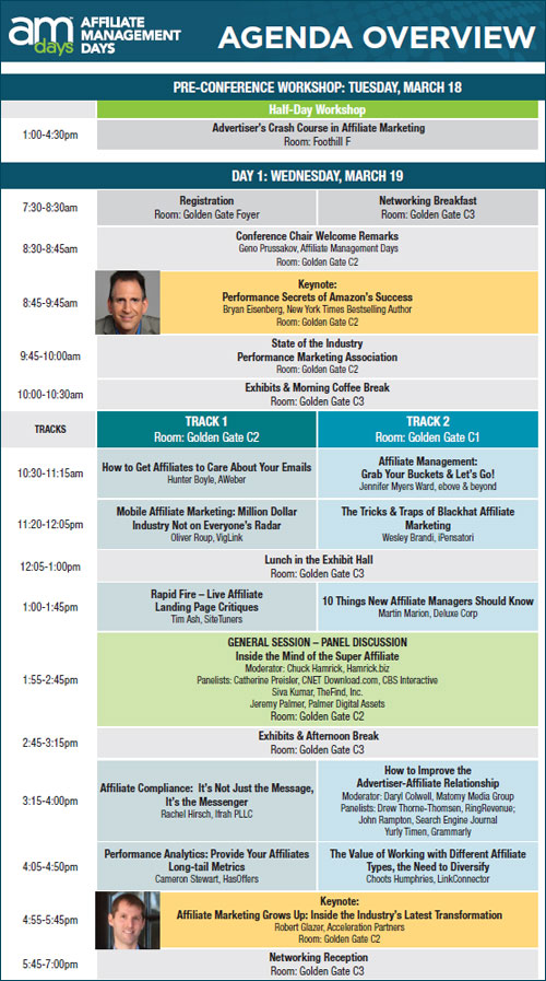 Printable Conference Agenda Now Available for AM Days SF 2014 - AM Days