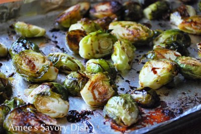 Bacon Fat Roasted Brussels Sprouts with Balsamic Glaze