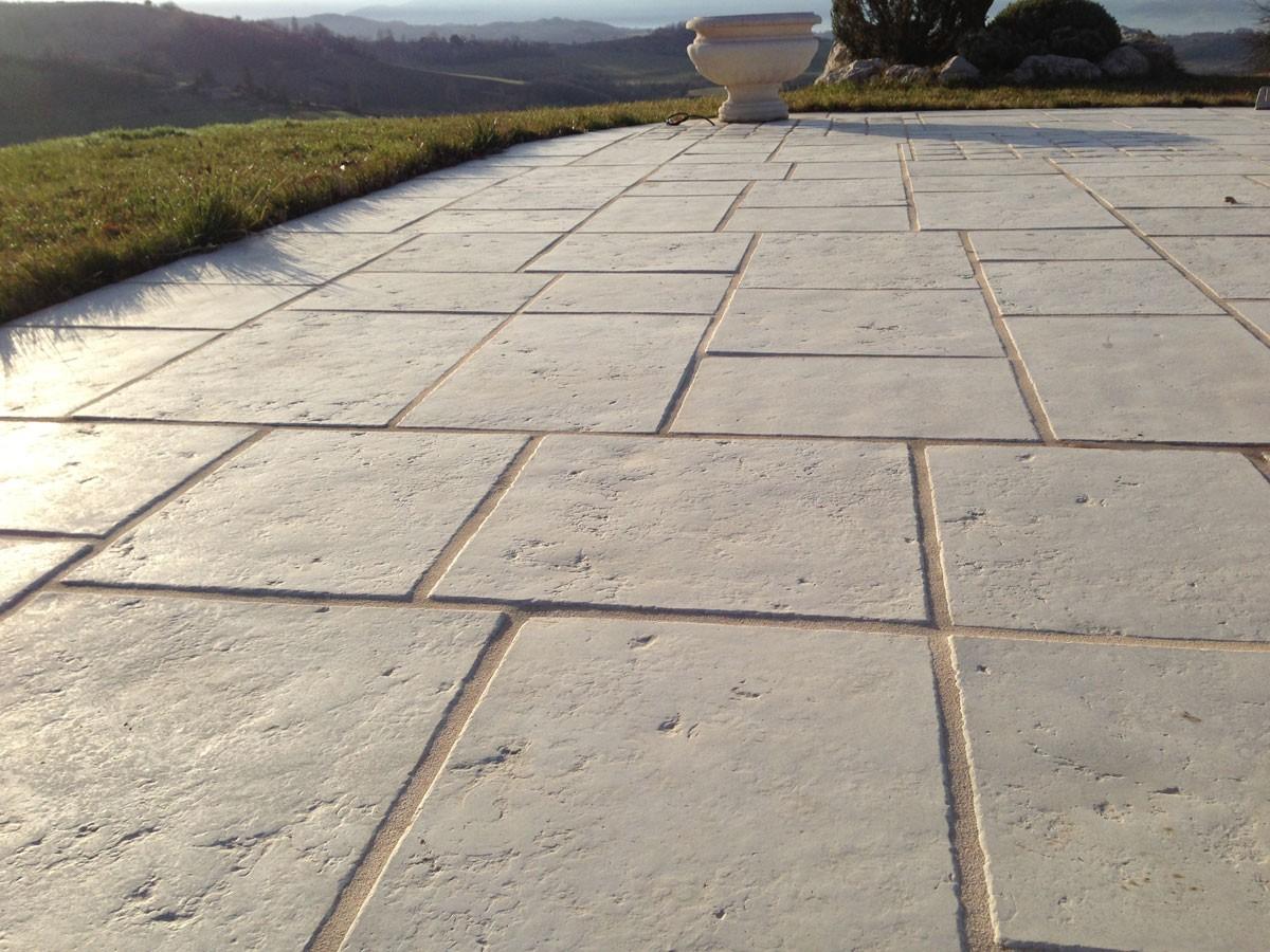 epaisseur dalle beton terrasse exterieur Dalle Terrasse Pierre Multiformat 4 Cm Blanc