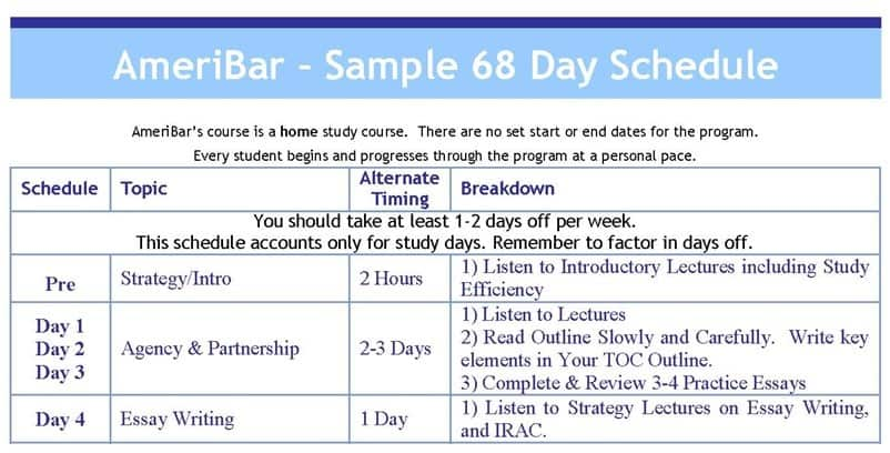 Sample Study Calendar AmeriBar Bar Review