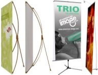 non retractable and telescopic banner stands, x-stands l-stands, tripod stands