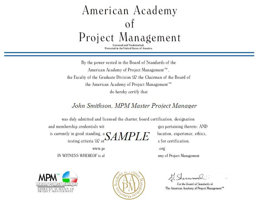 AApM ® Certified Project Manager Training Education Courses Seminars - certificate samples