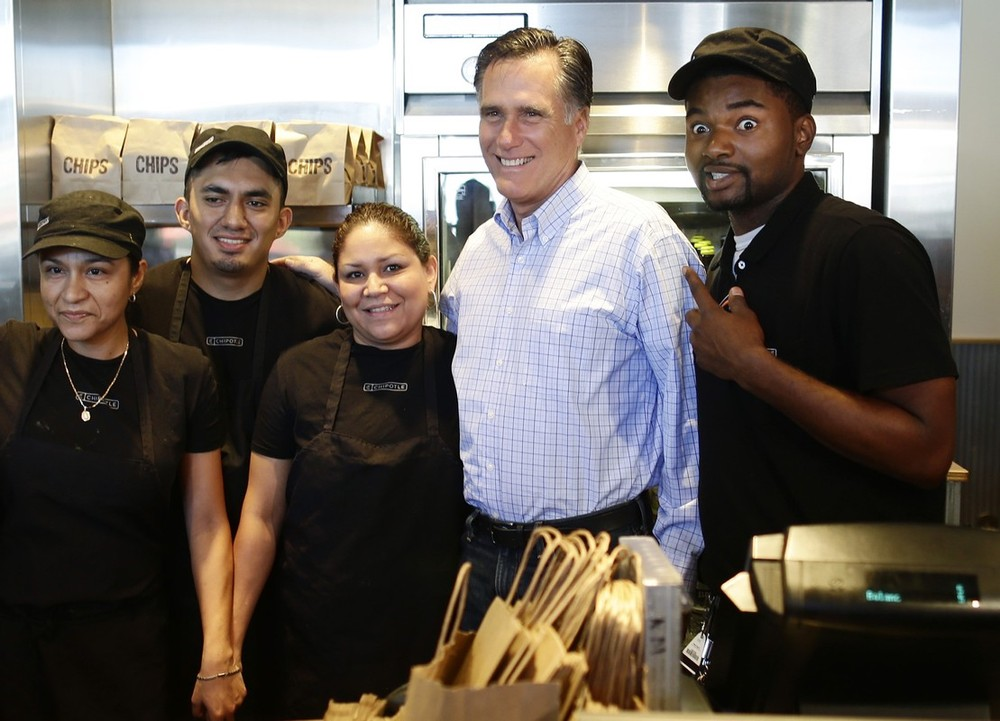 This Has To Be A Meme Mitt Romney + The Chipotle Crew Members