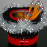Black Red n Silver Pencil holder Large
