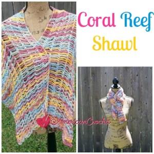 Coral Reef Shawl Crochet Free Pattern