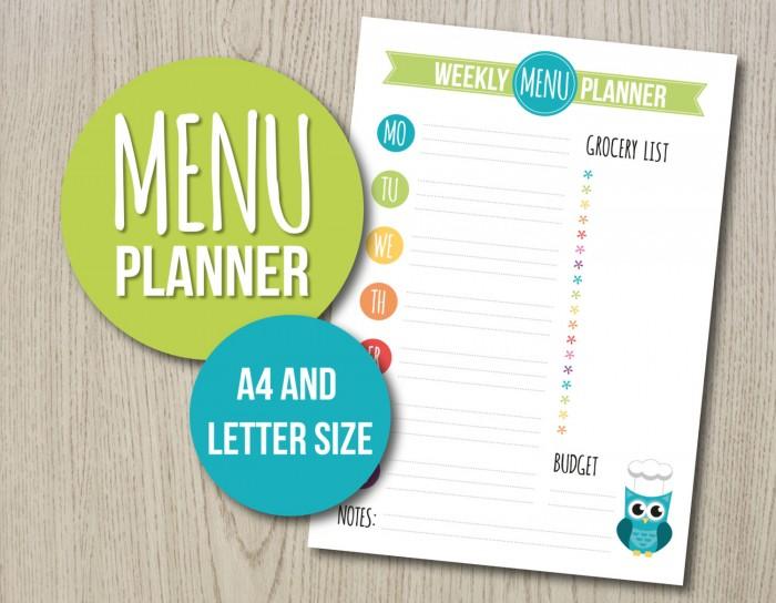 15 Meal Planner Ideas Notepad \ Printable Meal Planners A Merry - weekly menu