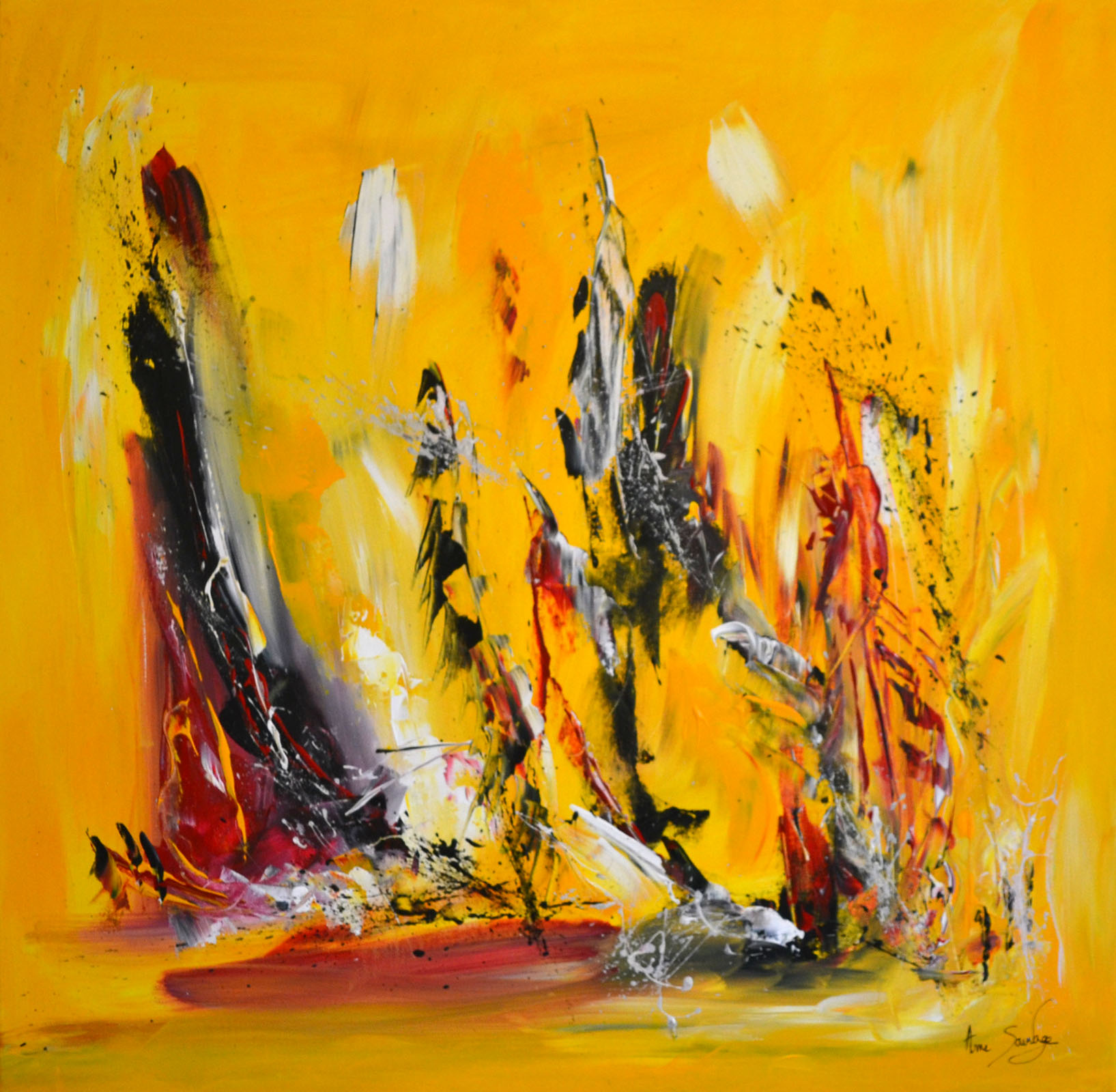 Anthony Chambaud Tableau Abstrait Contemporain Jaune Noir Rouge Grand Format