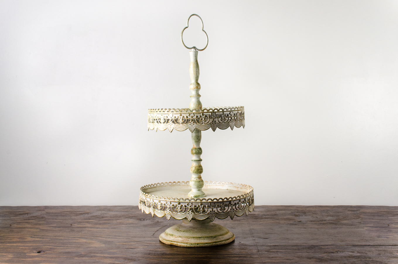 Pastry Stand Vintage Off White 2 Tier Amigo Party