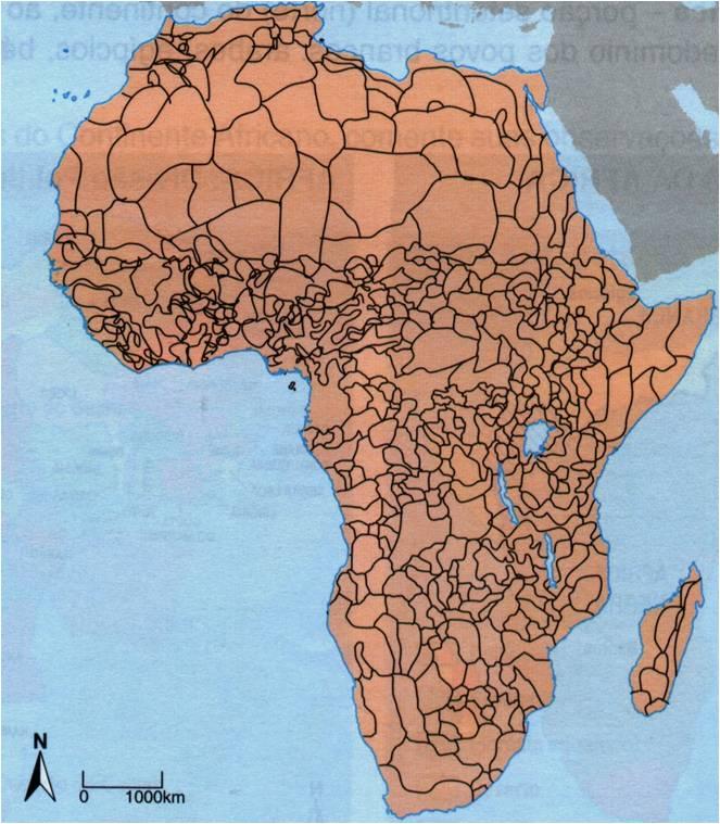 O mapa retrata a verdadeira divisão étnica do continente africano