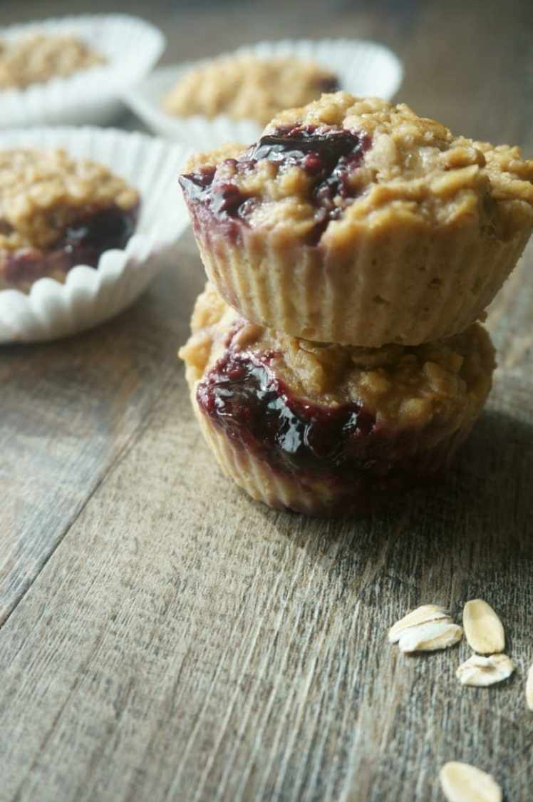 Peanut Butter & Jelly Oatmeal Muffins