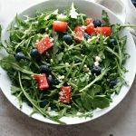 Blueberry and Watermelon Arugula Salad #SundaySupper
