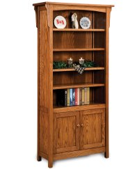 Bridger Mission Bookcase with Doors - Amish Direct Furniture
