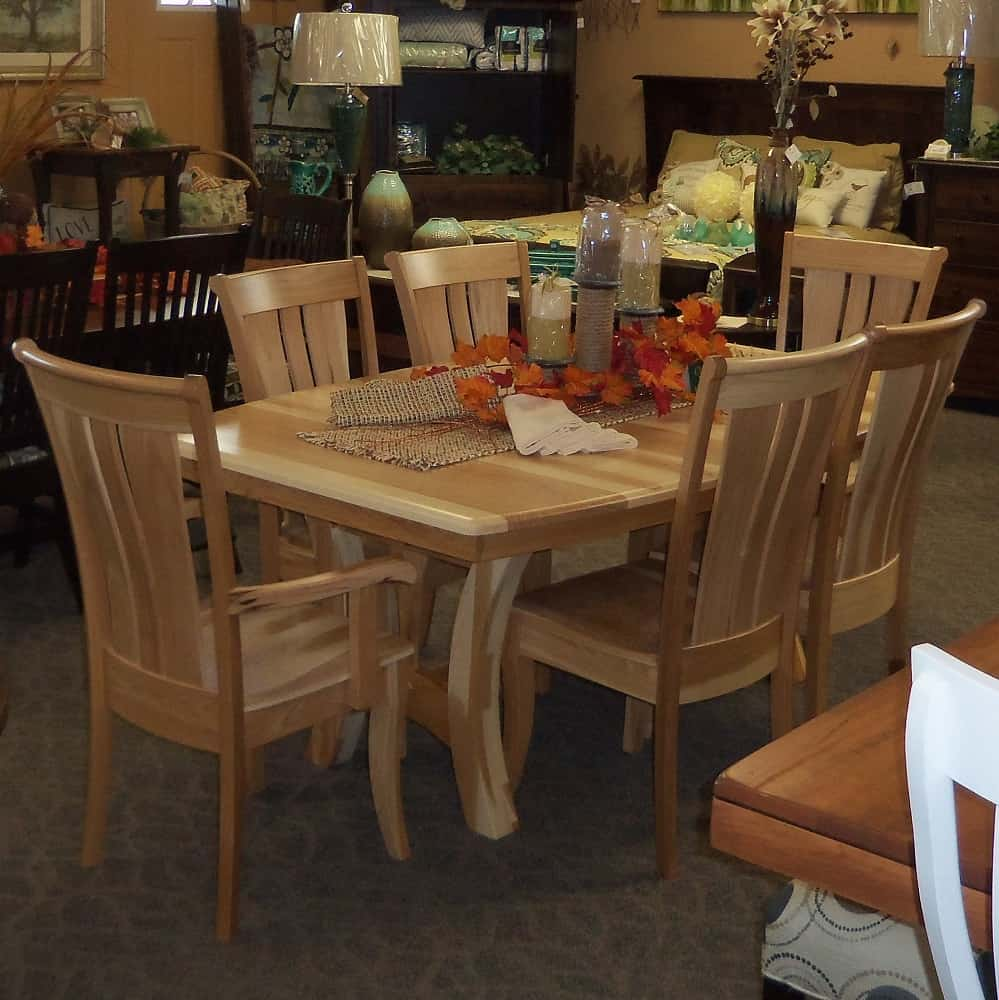 High Chair For Kitchen Island Grand Island Dining Table, Shown In Hickory With A Natural