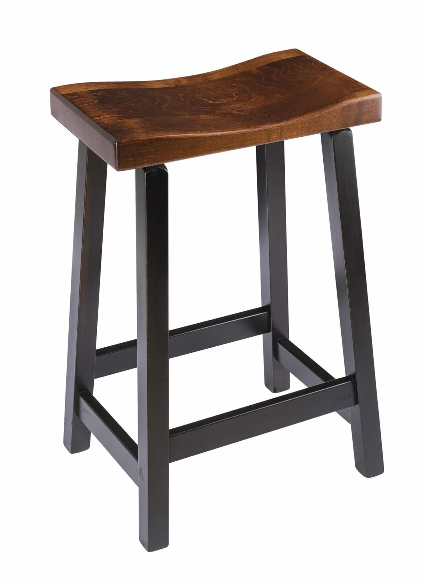 Saddle Bar Stool In Maple Wood The Amish Furniture Company