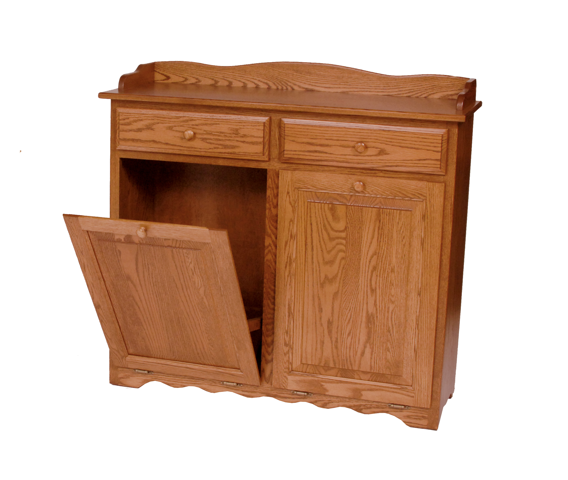 Wooden Kitchen Trash Containers Double Trash Bin With Drawers Amish Valley Products