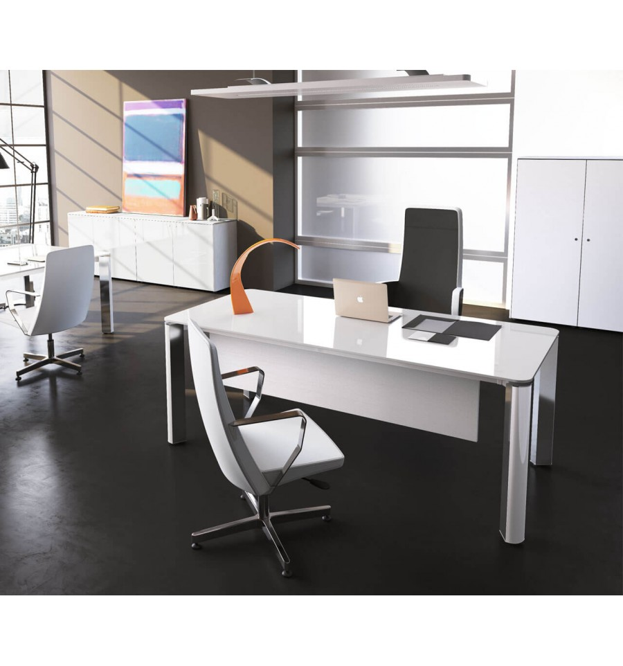 Bureau De Direction Design Blanc Bureau De Direction Iulio Hg Finition Verre Blanc