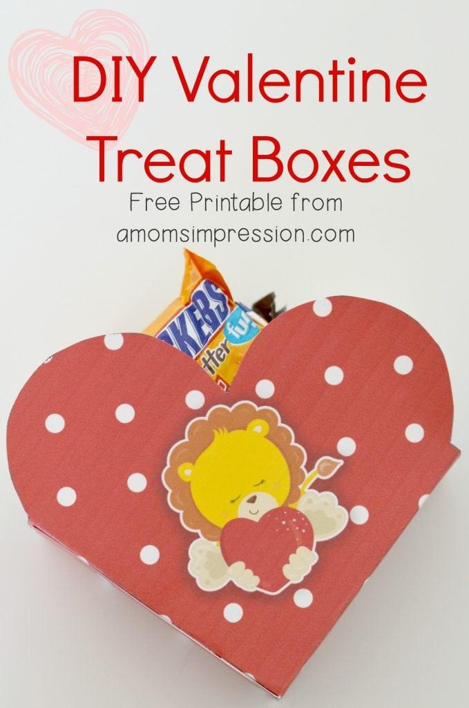 DIY Valentine Treat Boxes ~ Free Printable- A Momu0027s Impression - valentine craftf