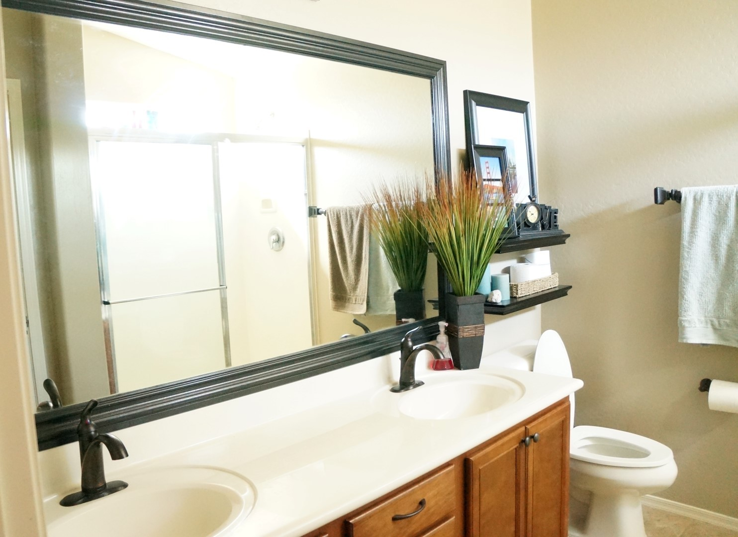 How To Frame A Large Bathroom Mirror How To Frame A Mirror The Builder 39s Installed A Mom 39s Take