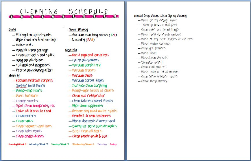 Home Journal Perpetual Cleaning Schedule a mom with a coffee cup