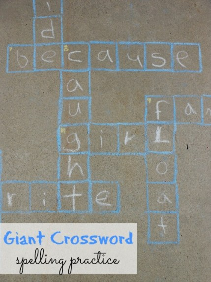 giant sidewalk crossword puzzle for kids - great for spelling practice (1)