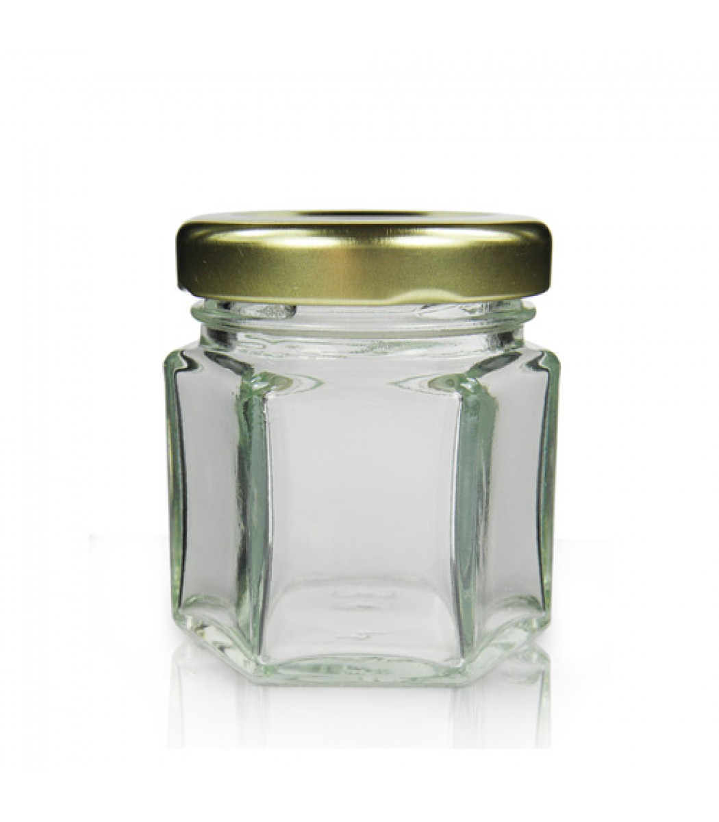 Lid And Jar 45ml Hexagonal Glass Jar With Lid