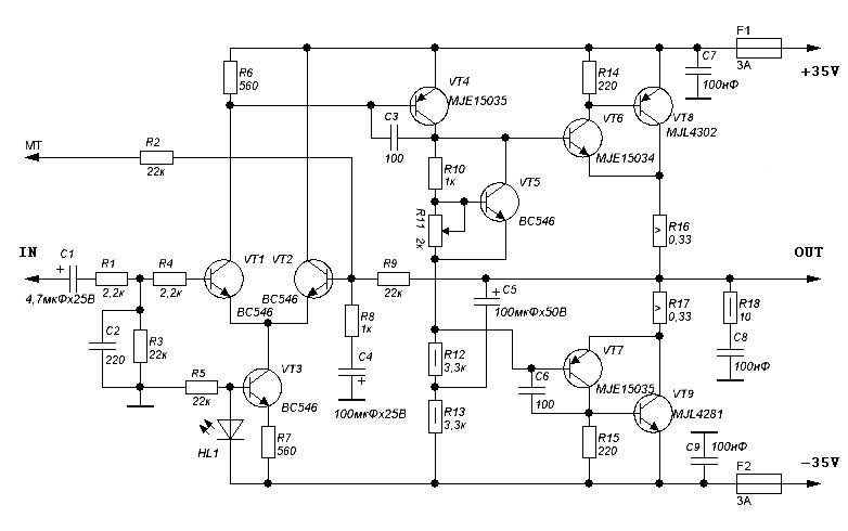 power amp ocl 100w by transister mj15003mj15004