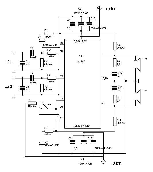 60 / 120 watts Power Amplifier LM4780 - Amplifier Circuit Design