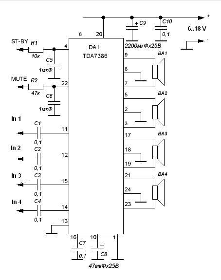 30w quad power amplifier based tda7386