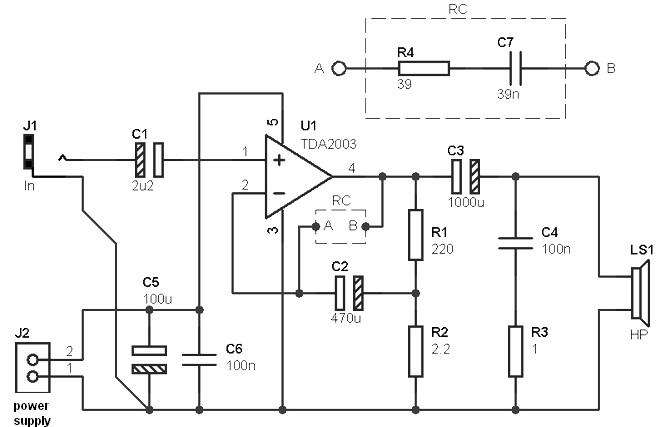 10 w power amplifier based tda2003