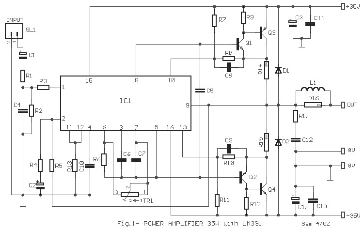 35w power amplifier based on lm391
