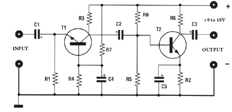 Low impedance pre amp circuit diagram