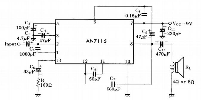 mini audio amplifier circuit diagram