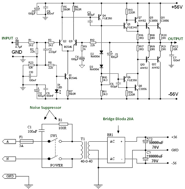 150W Power Amplifier using Transistor - Amplifier Circuit Design
