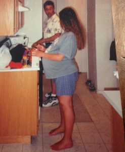 The morning of the day I had Maximus in May of 2002.  My dad is in the background cooking me my favorite breakfast.