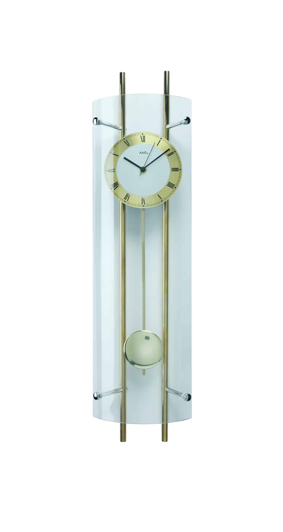 Wall Clocks Glass Ams 5227 Curved Glass Wall Clock Ams Clocks