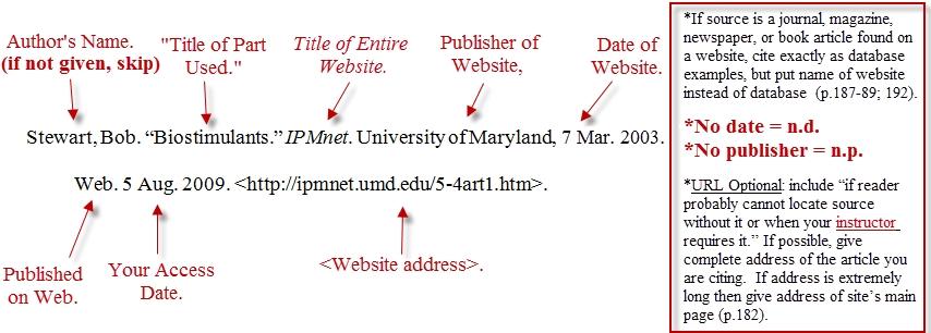 Mla Format For Websites amulette