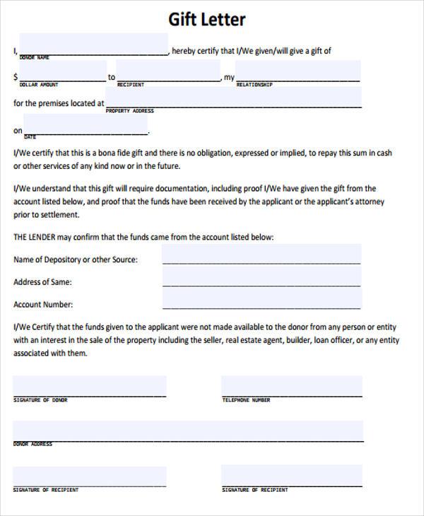 Sample Gift Letter For Mortgage amulette
