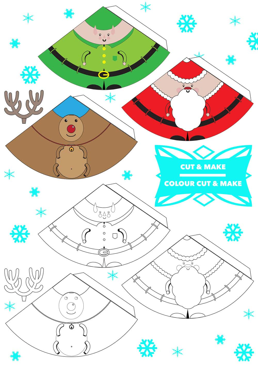 Free Printable 3d Christmas Characters Finger Puppets