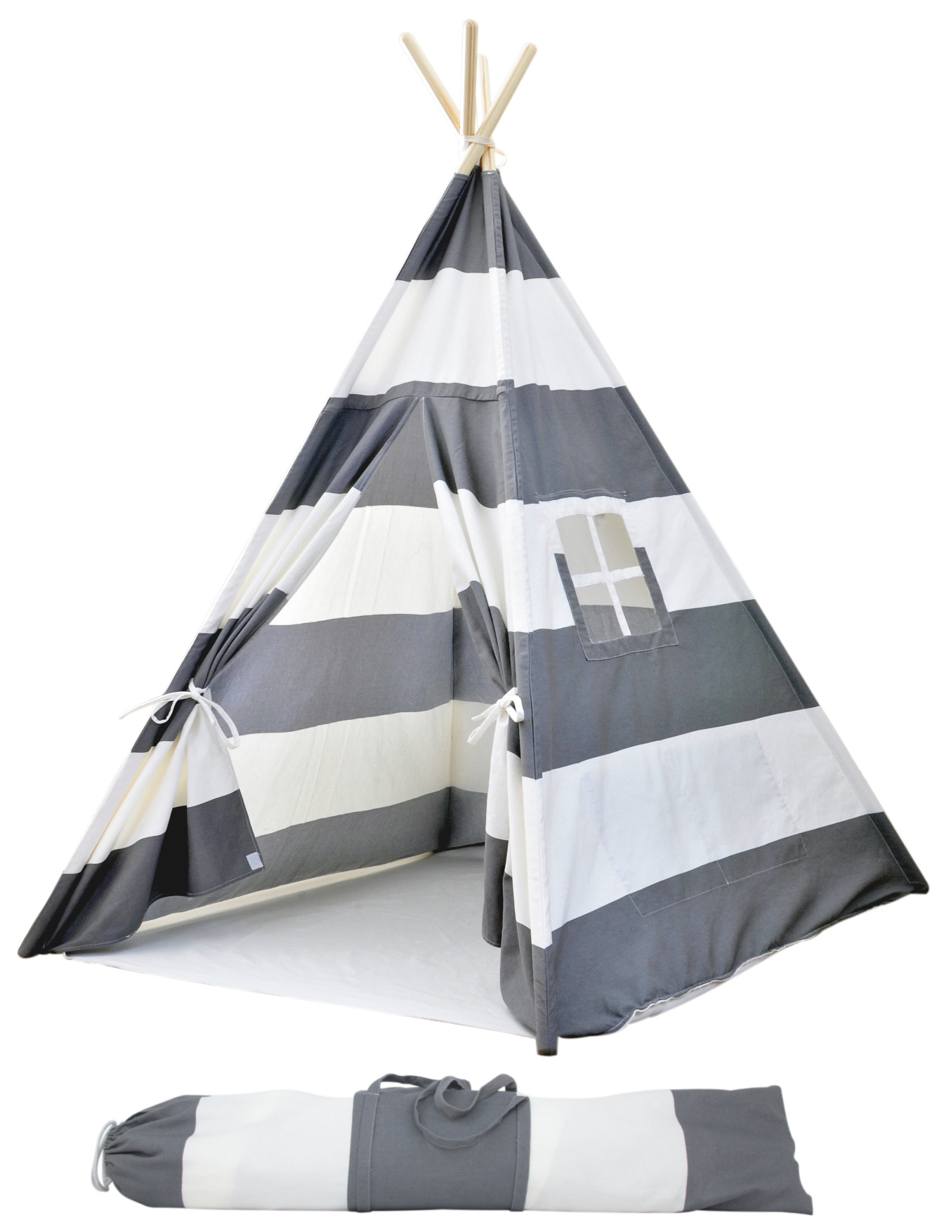 Teepee Kids Portable Canvas Teepee Tents For Kids With Carrying Case Large Gray Stripes