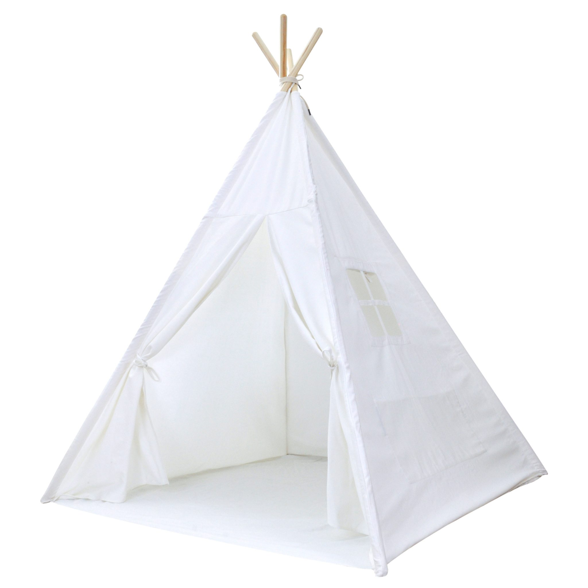 Teepee Kids Portable Kids Canvas Teepee Tent With Carrying Case White Cotton Canvas