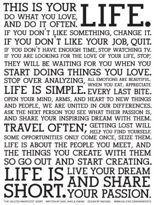 Holstee Manifesto, inspire