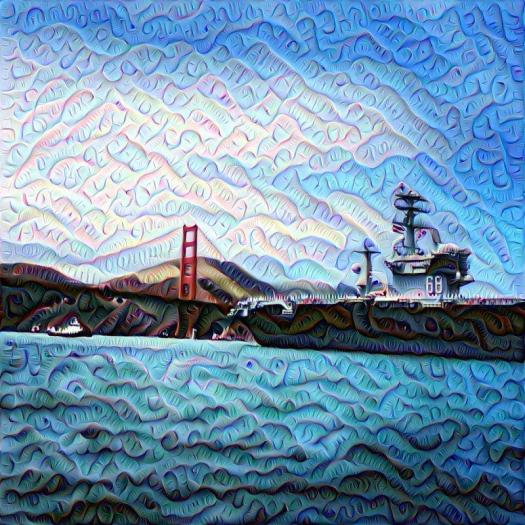 Golden Gate bridge and Destroyer Deep Dream, SF, San Francisco, DeepDream, deep dream, neural nets