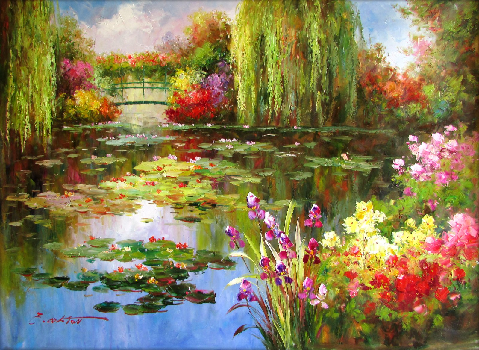 Claude Monet Cuadros Claude Monet Colorful Water Lily Pond Repro 4 Hand
