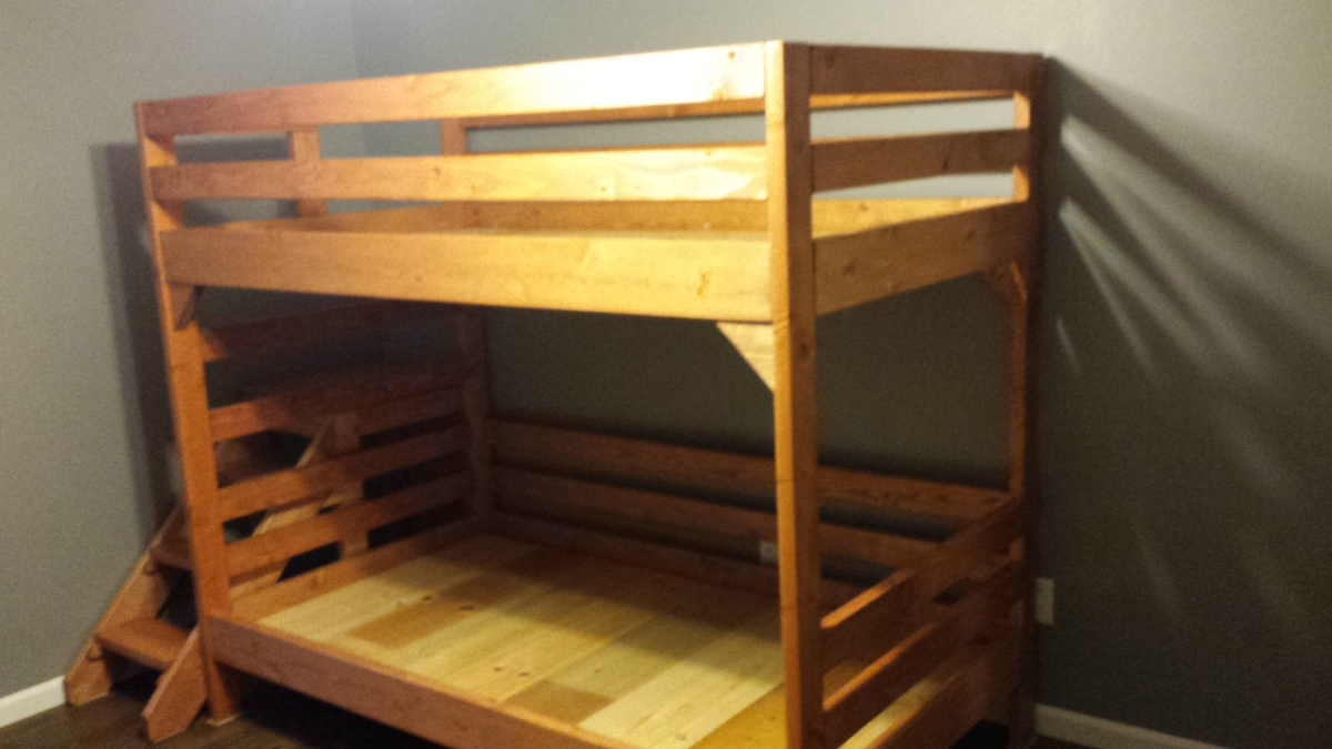 Building A Bunk Bed With Stairs Ana White Modified Camp Loft Bed With Stairs Into Bunk