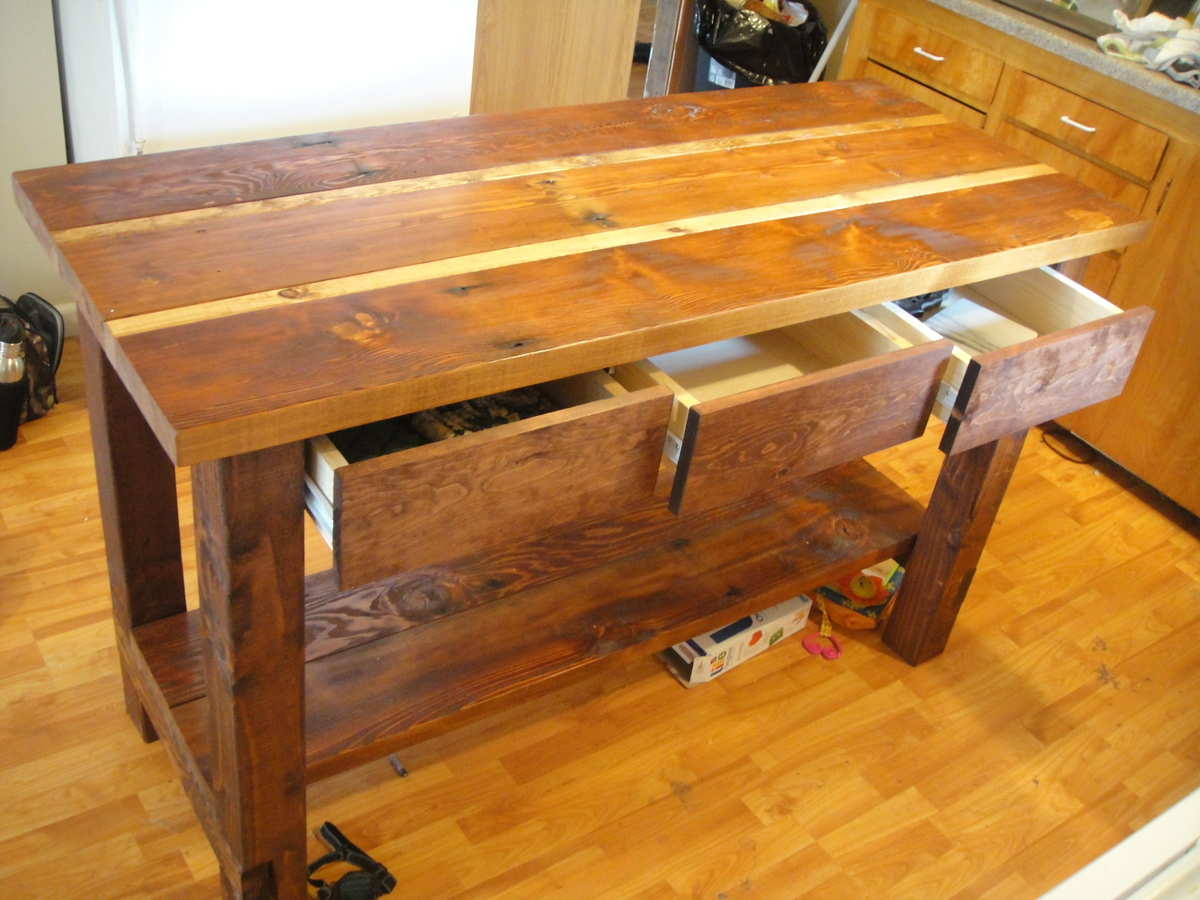 Wood Kitchen Island Plans Ana White Kitchen Island From Reclaimed Wood Diy Projects