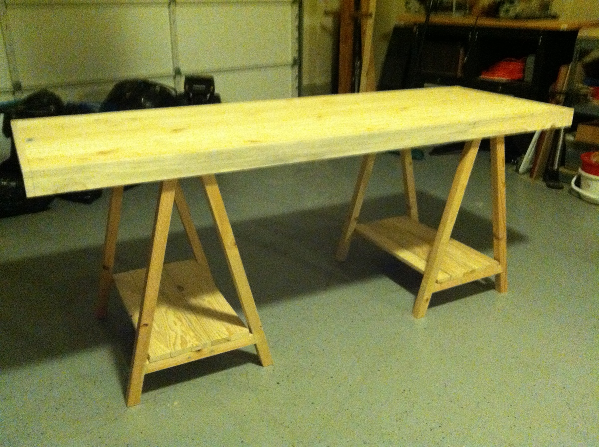 Writing Table Plans Ana White Saw Horse Writing Desk Diy Projects
