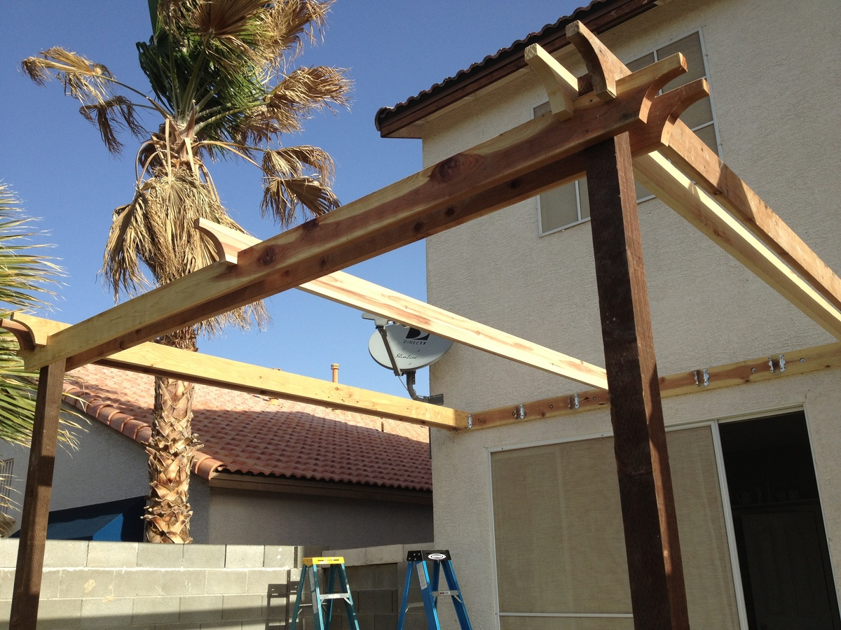 Simple Pergola Attached To House Ana White Pergola Attached Directly To The House Diy