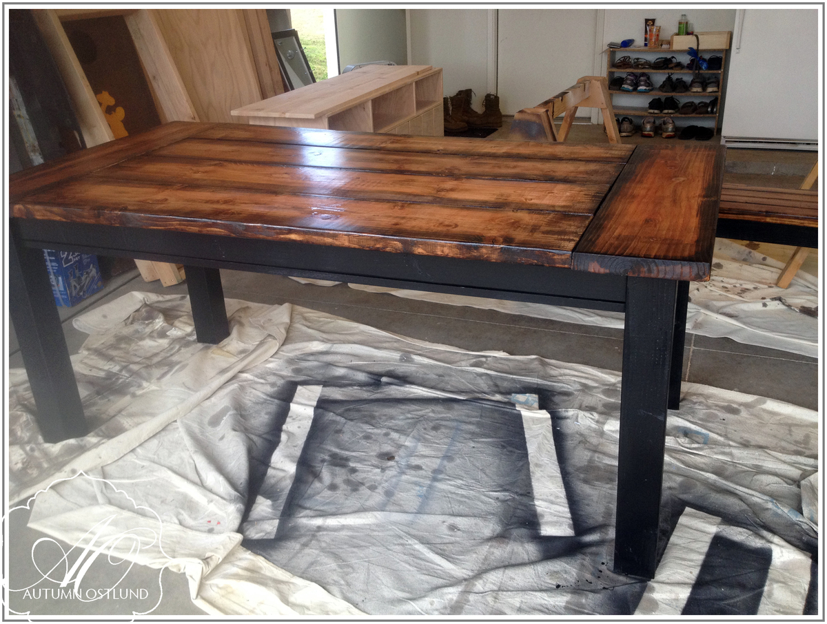 Black Farmhouse Table With Bench Ana White Straight Leg Farmhouse Table Diy Projects