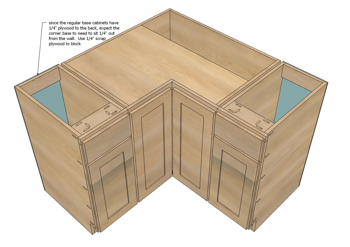 How To Build A Corner Kitchen Cabinet Ana White 36 Quot Corner Base Pie Cut Kitchen Cabinet