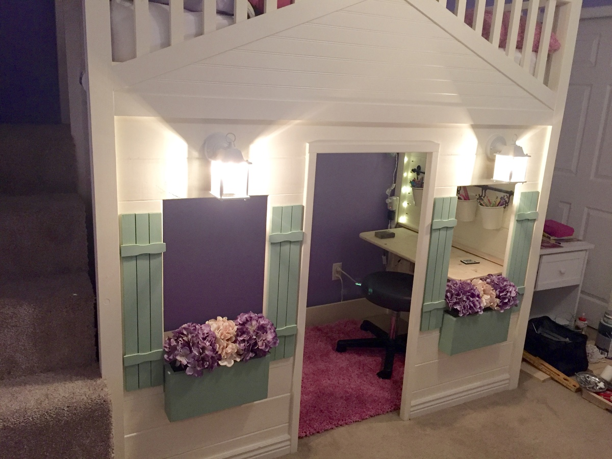 Loft Bed With Desk Ana White | Cottage Loft Bed Playhouse With Stairs, Lights